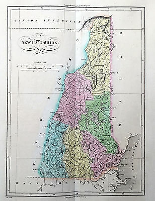 1825 Buchon - Carey, Lea - Large Antique Map State New Hampshire, North America 2