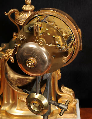 Ormolu and Marble Boudoir Antique French Clock Set by Vincenti C1860 11