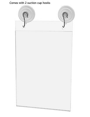 "Ad Frame Sign Holder Wall Mount 5""W x 9""H with Hooks and Suction Cups 5"