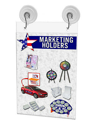 "Ad Frame Sign Holder Wall Mount 5""W x 9""H with Hooks and Suction Cups 9"
