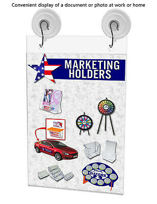 "Ad Frame Sign Holder Wall Mount 5""W x 9""H with Hooks and Suction Cups 6"