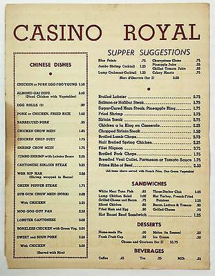 Vintage Dinner Menu CASINO ROYAL Cabaret Chinese Restaurant Washington DC