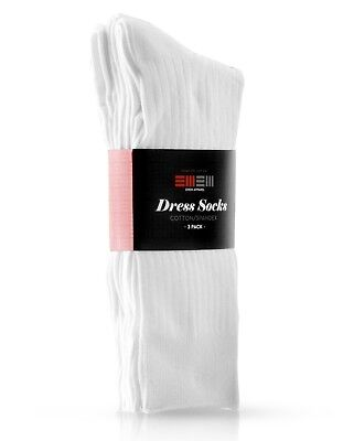 EMEM Men's Ribbed Cotton Classic Crew Dress Socks 3-Pack, Big and Tall Available 7