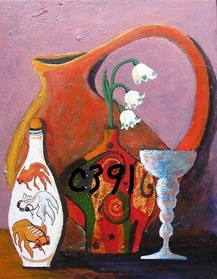 "C394        Original Acrylic Painting By Ljh    ""Purple Haze''      Still Life 2"