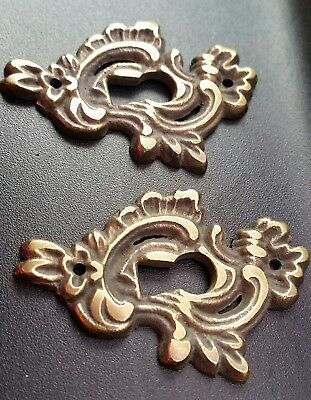 2 Antique Brass French Keyhole Escutcheons Ornate Fancy Keyhole Escutcheon #E15