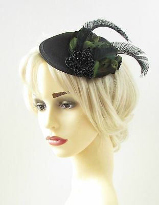 2 of 7 Black Green Feather Fascinator Headpiece Hat Pillbox Vintage Races  40s Hair 823 5a01aa5cb4ec