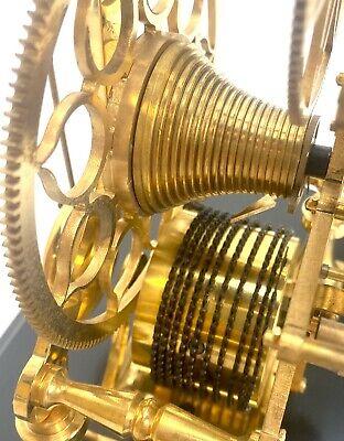 24K Vienna Style Pinwheel Moon Dial Calendar 8 Day Fusee Chain Skeleton Clock 9