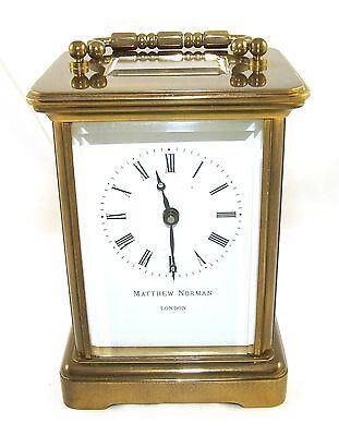 MATTHEW NORMAN LONDON SWISS MADE Brass Carriage Clock with Key : Working (49) 2