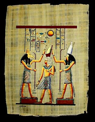 Rare Authentic Hand Painted Ancient Egyptian Papyrus- Crowning of King Ramses 12