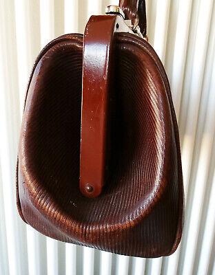 Antike Leder Arzttasche Doktortasche Tasche Sacvoyage Hebammentasche um 1900 5