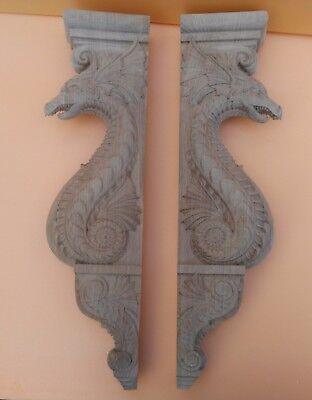 "20"" Large Wooden Corbel/bracket Dragon.  Carved from oak wood. 4"