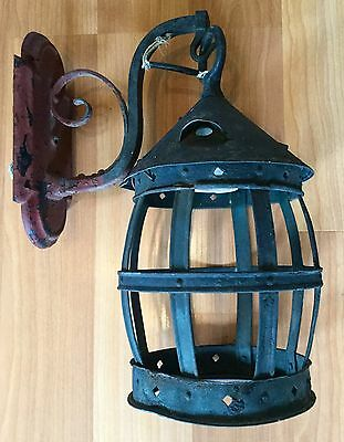 Old Vtg Antique Wrought Iron Hanging Wall Mount Porch Electric Sconce Light 2