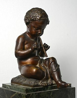 Antique 19th century French Figural Bronze & Marble Clock : Putto with Pipes 10