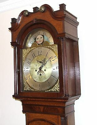 Antique Rolling Moon Oak & Mahogany Longcase Grandfather Clock MOYLE CHESTER 3