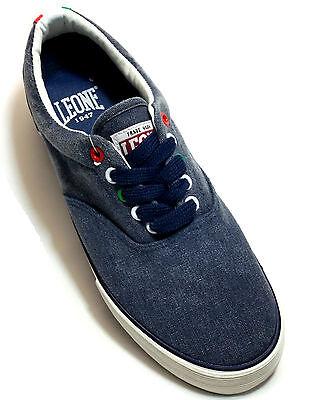 LEONE 1947 SCARPE Uomo Sportive Sneakers Tela Blu Slip On