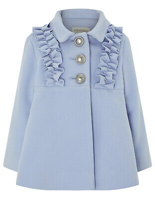 Monsoon Baby Blue Florrie Girls Fur Collar Frill Dress Coat Newborn To 4 Years 3
