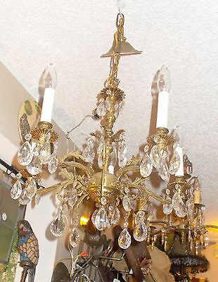 Antique Brass 5 Arm Crystal Prism Chandelier from Bay Area Architectural Salvage 5