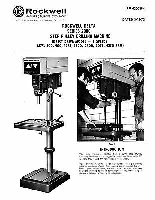 """Rockwell Delta 20/"""" Series 2000 Step Pulley Drill Press Op /& Parts Manual *1656"""