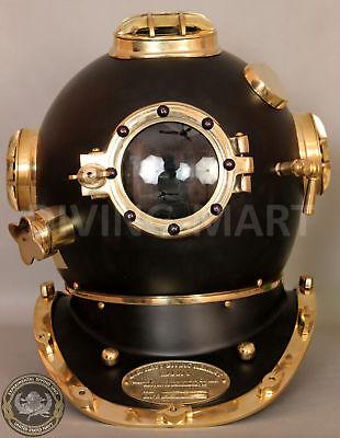 US Navy Mark V Nautical Marine Antique Brass Powder Coating Divers Diving Helmet 2