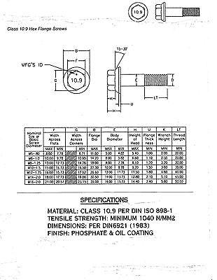 10 PCS M12-1.75x40 MM Metric Hex Flange Bolts Grade 10.9 Screws Phos /& Oil