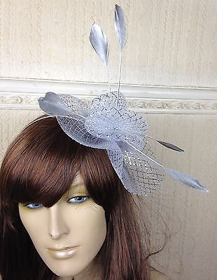 silver netting feather hair headband fascinator millinery wedding hat ascot race 3