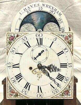 Antique Rolling Moon Phase Oak Mahogany Longcase Grandfather Clock HAYES WREXHAM 6