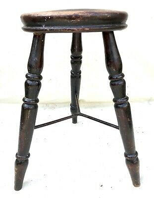 Antique Victorian Ash and Elm Farmhouse Kitchen Stool / Milking Stool : 3 Legs 6