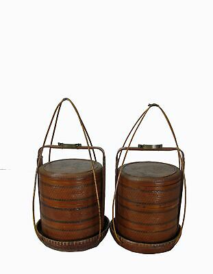 Chinese Antique Bamboo Food Box w Basket 4