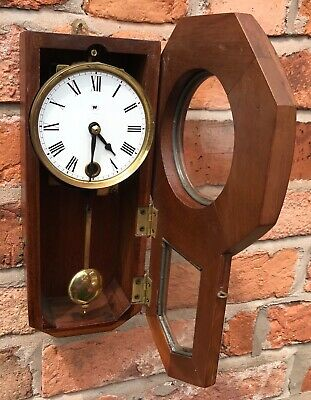Beautiful Vintage Miniature Drop Dial Wall Clock In Wooden Case With Pendulum 6