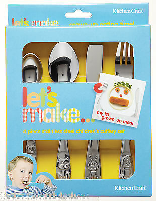 Kitchen Craft Childrens Stainless Steel Cutlery Set Knife, Fork & 2 Spoons