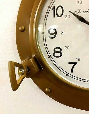 Antique Marine Brass Ship Porthole Clock 22.86 cm Nautical Wall Clock Home Decor 5