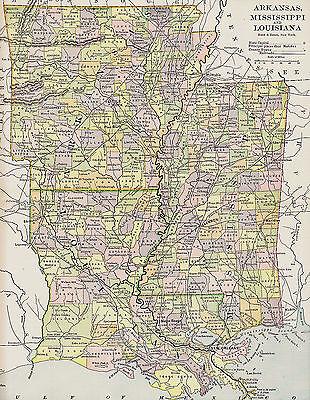 Original 1890 Antique Map Louisiana Mississippi Arkansas Monroe La