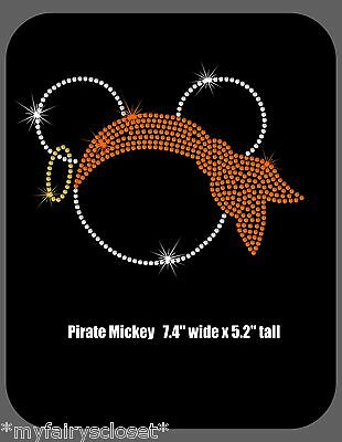 1 of 2 74 halloween pirate minnie mickey iron on rhinestone transfer applique patch