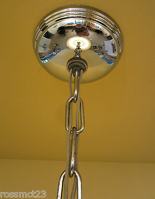 Vintage Lighting 1930s Moe Bridges chrome glass 200W chandelier   More Available 6