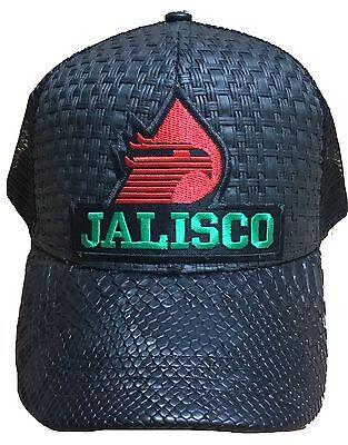 6fbc8d44d0605 ... Jalisco Pemex Mexico Hat Black Gorra De Palma Visera De Piel Snap Back 2