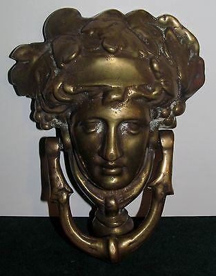 Large Brass Figural Antique Door Knocker-Mythical Figure Head 2
