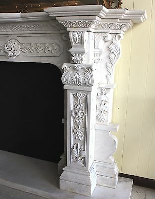 Hand Carved Carerra Marble Country French Monumental Fireplace Mantel Columns 7