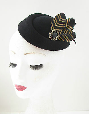 Black Gold Feather Pillbox Hat Fascinator Vintage Races Headpiece 1940s 20s 412 3