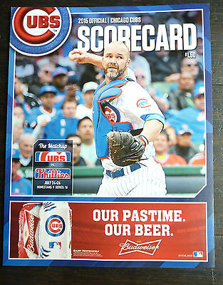 July 25 2015 Cubs Unused Score Card Wrigley Cole Hamels Phillies No Hitter No No 6