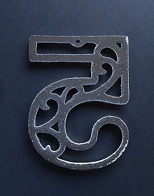 Vintage Mid-Century House Numbers 3 & 5 White Paint Swirl Design Cast Iron 6