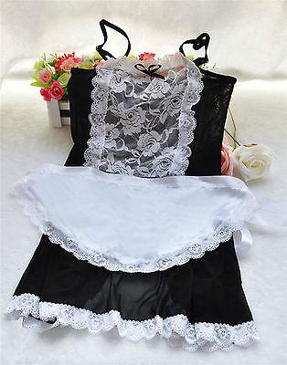 Set Costume Completo Maid Serva Cameriera Sedere Aperto Velato Lingerie Pizzo 6