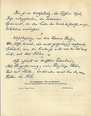 1910 Ode von Klopstock - Der Genügsame Handschrift 2 Seiten Faksimile