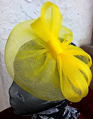 bright yellow fascinator millinery burlesque wedding hat ascot race bridal 2