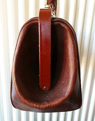 Antike Leder Arzttasche Doktortasche Tasche Sacvoyage Hebammentasche um 1900 4