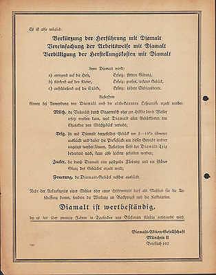 MÜNCHEN II, Prospekt 1936, Diamalt AG Diamalt Hefe-Gärung Bäcker-Müller