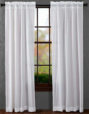 """84"""" Long White Sheer Ruffled Window Curtains Romantic Cottage Cotton 2 Panels 5"""