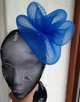 Blue fascinator millinery burlesque wedding hat hair piece ascot race bridal 1 2