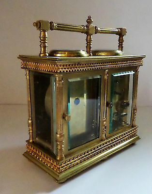Antique French Double Carriage Clock Barometer / Alarm  / Compass Set 6