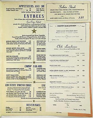 2 Of 4 1962 Vintage Dinner Menu PLAIN FANCY RESTAURANT Atlantic City Boardwalk