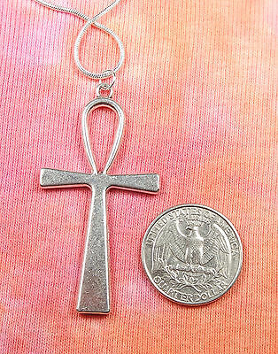 """Large Ankh Necklace, pick 16""""-36"""" inch silver snake chain, Egyptian Key of Life 3"""